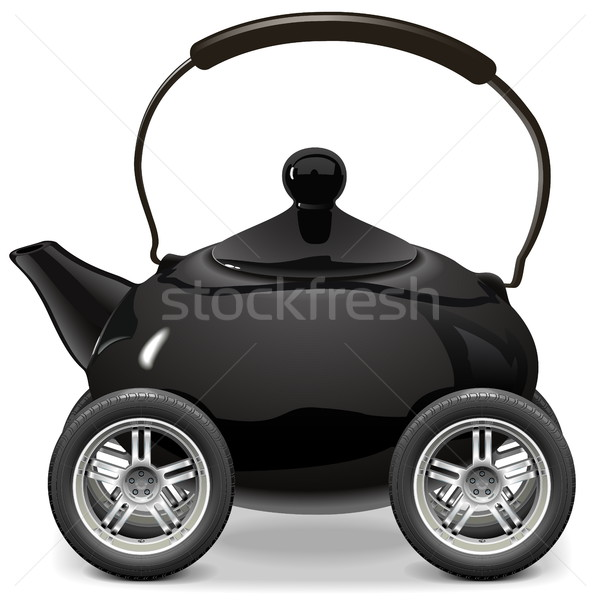 Vector Teapot on Wheels Stock photo © dashadima