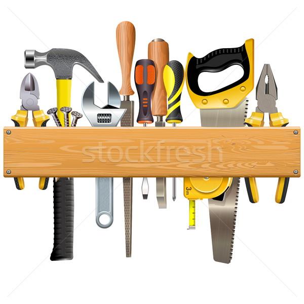 Vector Wooden Plank with Tools Stock photo © dashadima