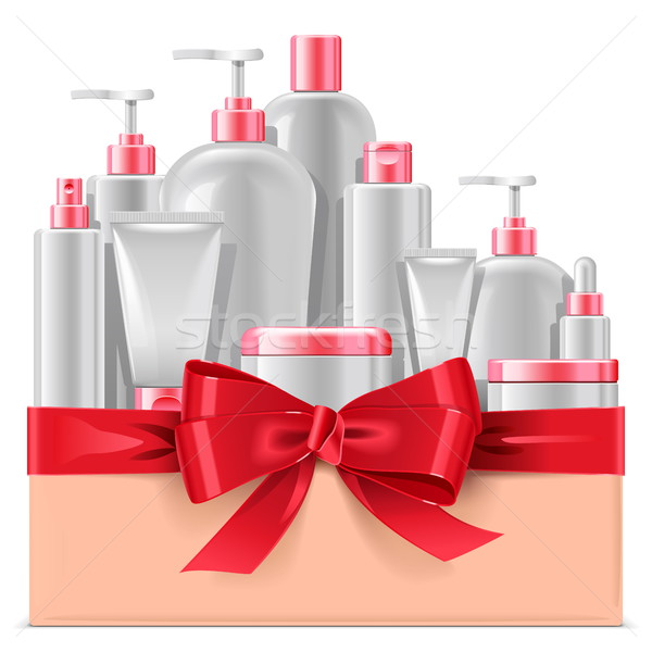 Vector Cosmetic Packaging with Red Bow Stock photo © dashadima