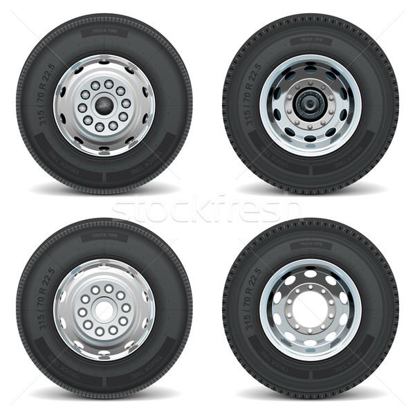 Vetor caminhão pneu ícones isolado branco Foto stock © dashadima