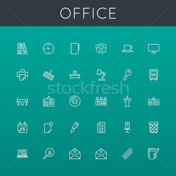 Vector Office Line Icons Stock photo © dashadima