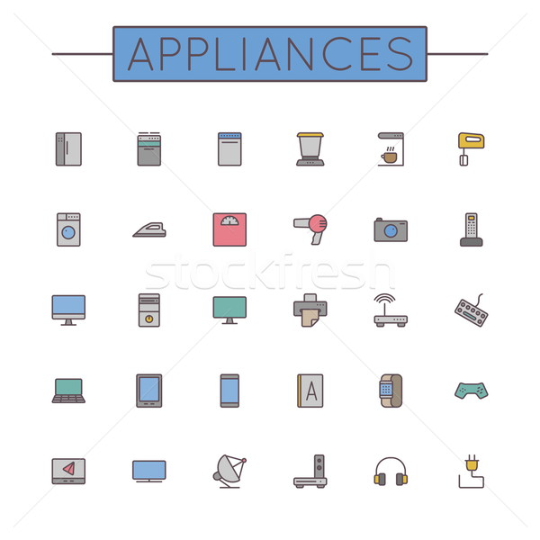 Vector Colored Appliances Line Icons Stock photo © dashadima