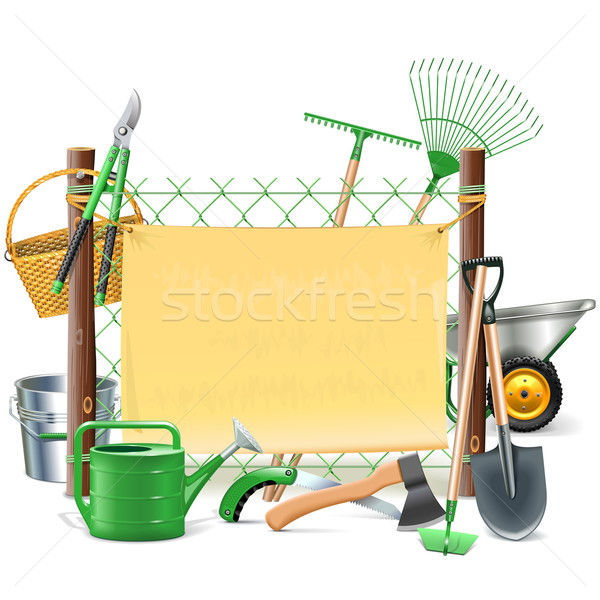 Vector Mesh Frame with Garden Tools Stock photo © dashadima