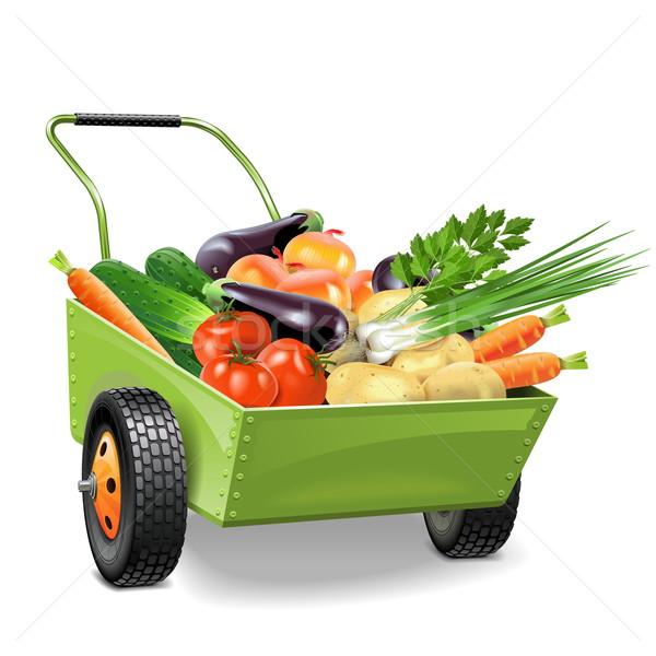 Vektör el arabası sebze yalıtılmış beyaz gıda Stok fotoğraf © dashadima