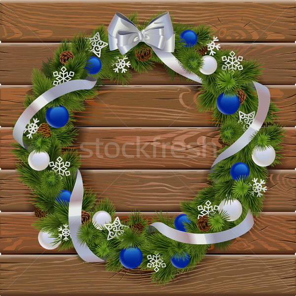 Vektor karácsony koszorú fa deszka kék díszítések Stock fotó © dashadima