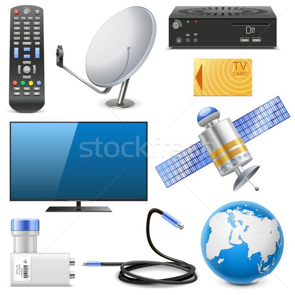 Vecteur satellite télévision icônes isolé blanche Photo stock © dashadima