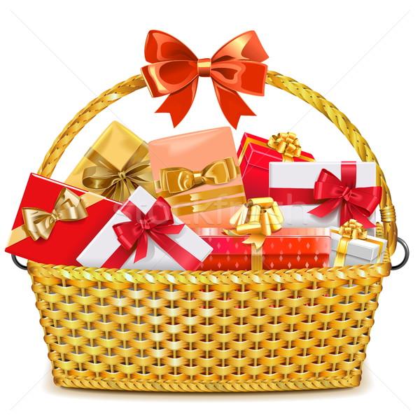 Vector Wicker Basket with Gifts Stock photo © dashadima