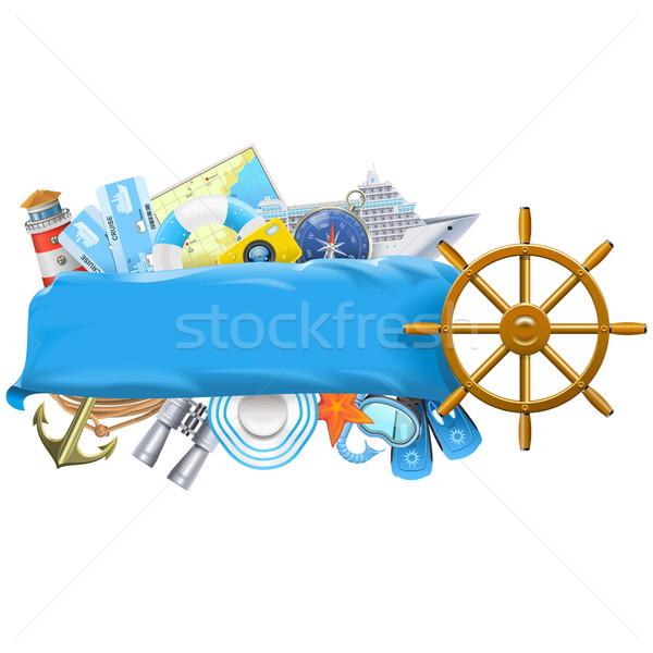 Vector cruise banner geïsoleerd witte zee Stockfoto © dashadima