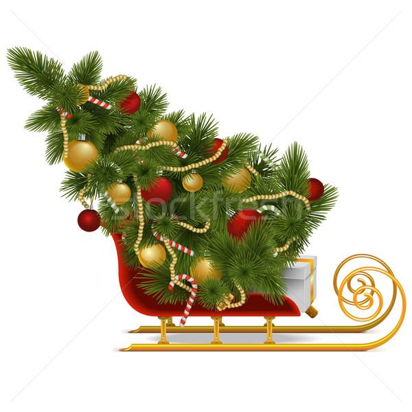 Vector Sled with Christmas Tree Stock photo © dashadima