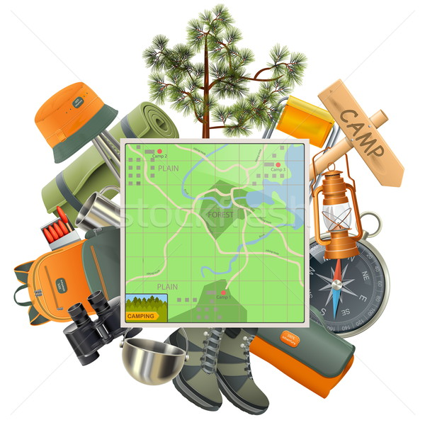 Vector Camping Concept with Map Stock photo © dashadima
