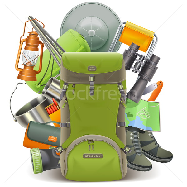 Vector Camping Concept with Haversack Stock photo © dashadima