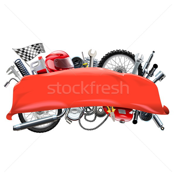 Vector Red Banner with Motorcycle Spares Stock photo © dashadima
