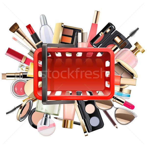 Wektora zakupy kosmetyki odizolowany biały kobieta Zdjęcia stock © dashadima
