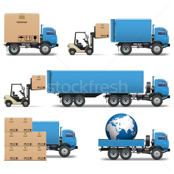 Vector Shipment Trucks Icons Set 2 Stock photo © dashadima