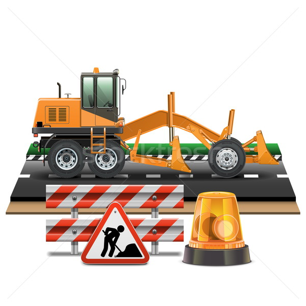 Vector Road Construction with Grader Stock photo © dashadima