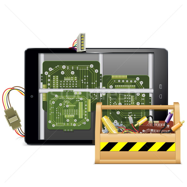Vector Tablet PC with Toolbox Stock photo © dashadima