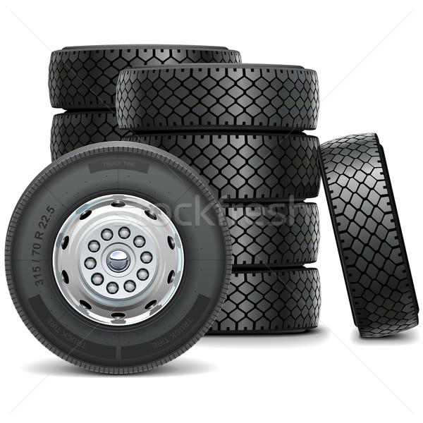 Foto stock: Vector · autobús · ruedas · aislado · blanco · camión
