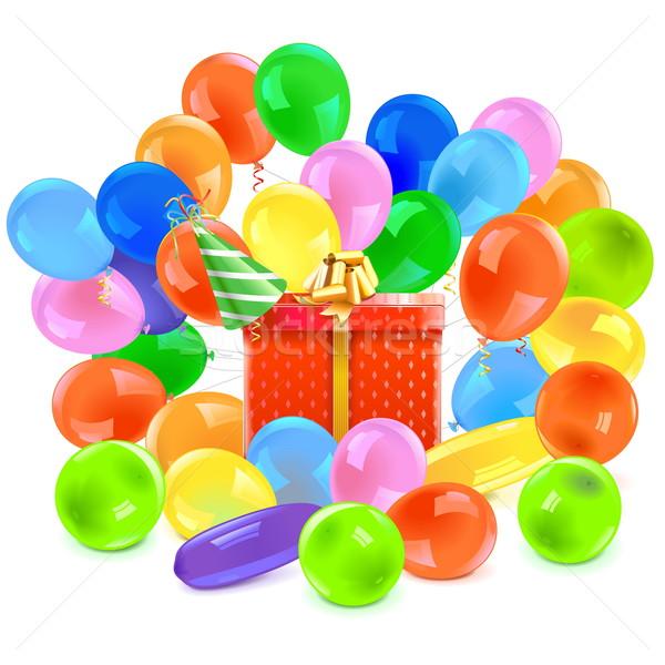 Vector Gift with Balloons Stock photo © dashadima