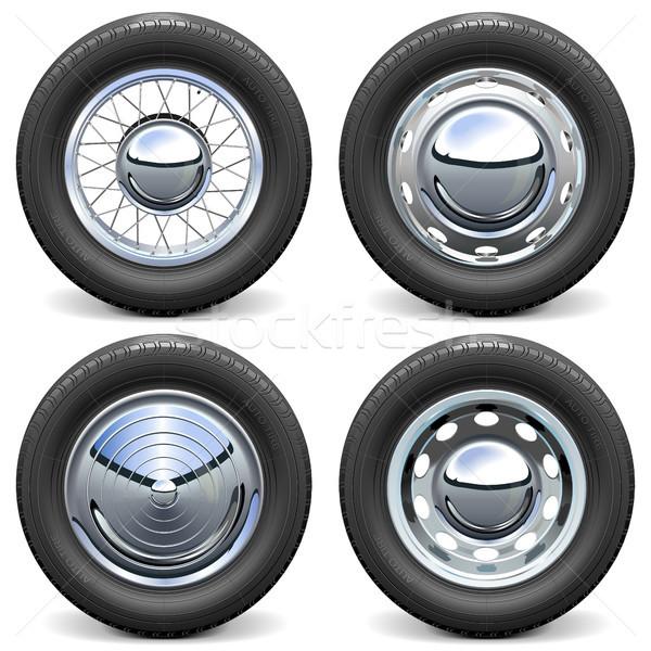 Vector Car Tires with Chrome Disks Stock photo © dashadima