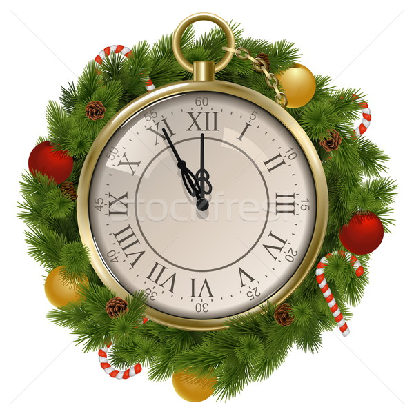 Vector New Year Concept with Clock Stock photo © dashadima