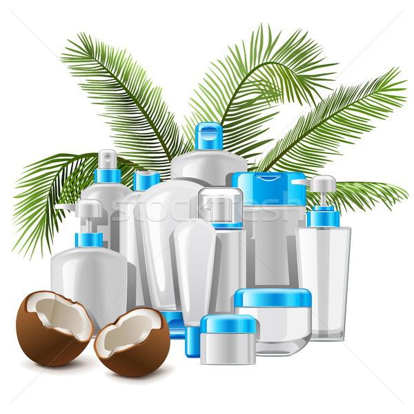 Vector kokosnoot cosmetica geïsoleerd witte lichaam Stockfoto © dashadima