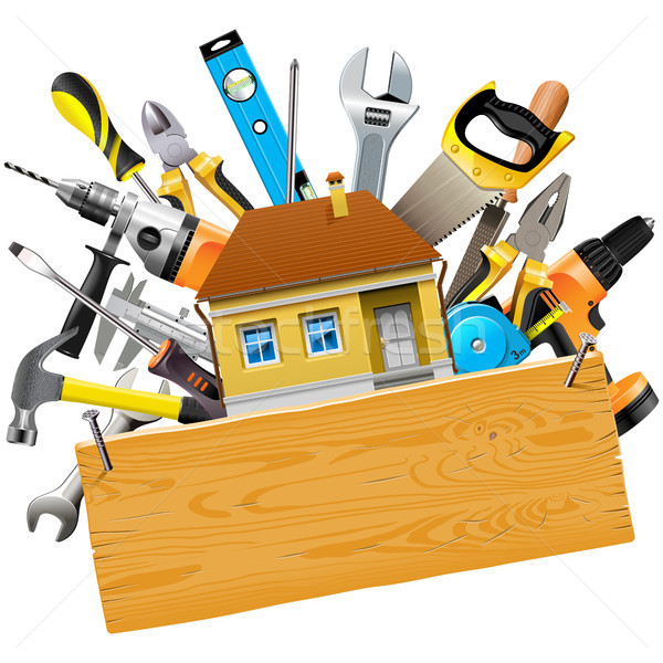 Vector Construction Tools with House Stock photo © dashadima
