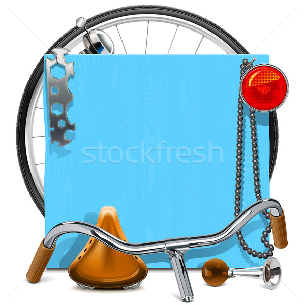 Vector Blue Wooden Board with Bicycle Spares Stock photo © dashadima