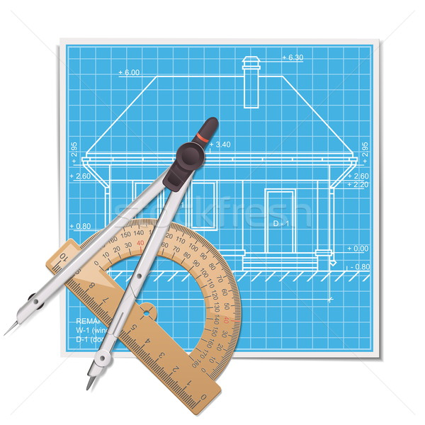 Vector Layout with Protractor Stock photo © dashadima