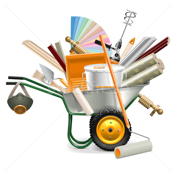 Vector Wheelbarrow with Painting Tools Stock photo © dashadima