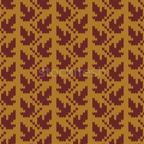 ベクトル 秋 編まれた パターン デザイン 葉 ストックフォト © dashadima