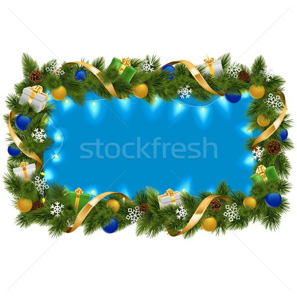 Vector Blue Fir Frame with Garland Stock photo © dashadima
