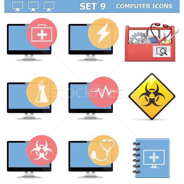 Vetor ícones do computador conjunto isolado branco monitor Foto stock © dashadima
