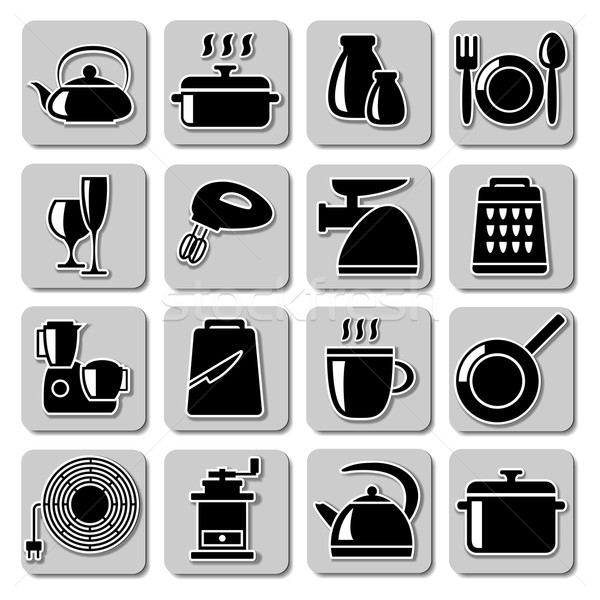 Vetor utensílios de cozinha ícones comida prato faca Foto stock © dashadima