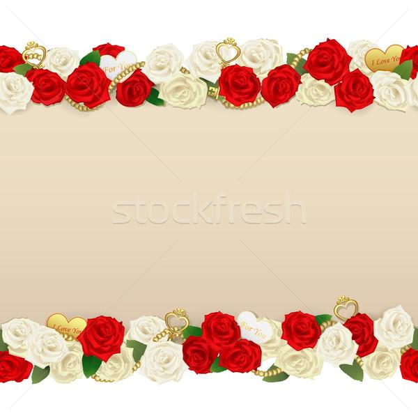 Foto stock: Vetor · romântico · flor · quadro · isolado · branco