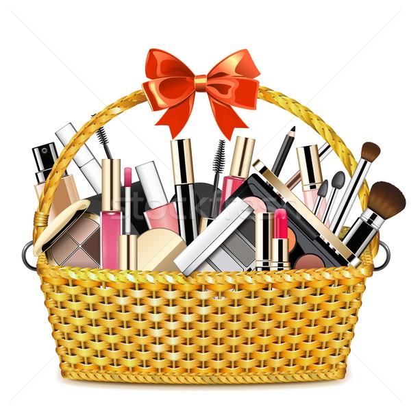 Vector Basket with Makeup Cosmetics Stock photo © dashadima