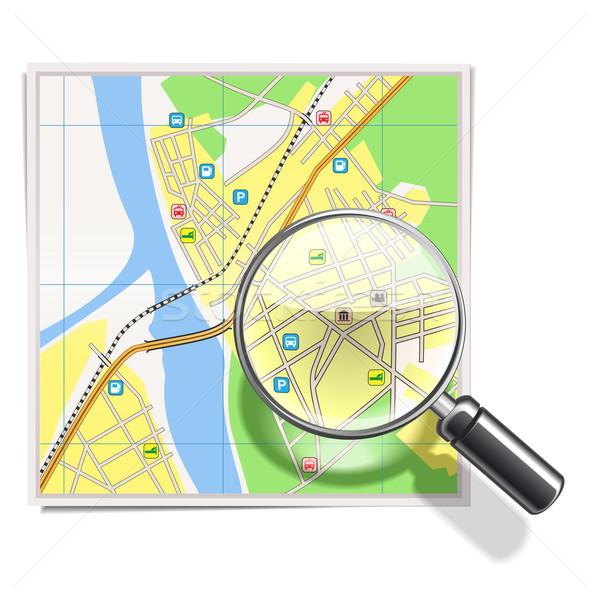 Stock fotó: Vektor · térkép · lencse · papír · út · üveg