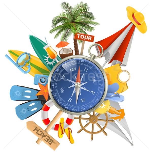 Vector strand kompas geïsoleerd witte familie Stockfoto © dashadima