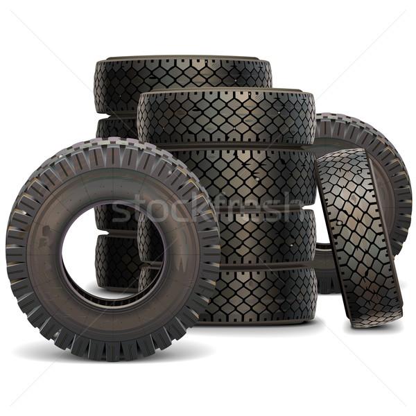 Vecteur vieux camion pneu isolé Photo stock © dashadima