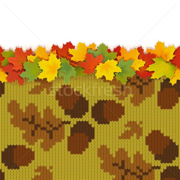 Foto stock: Vector · arce · hojas · otono · de · punto · patrón