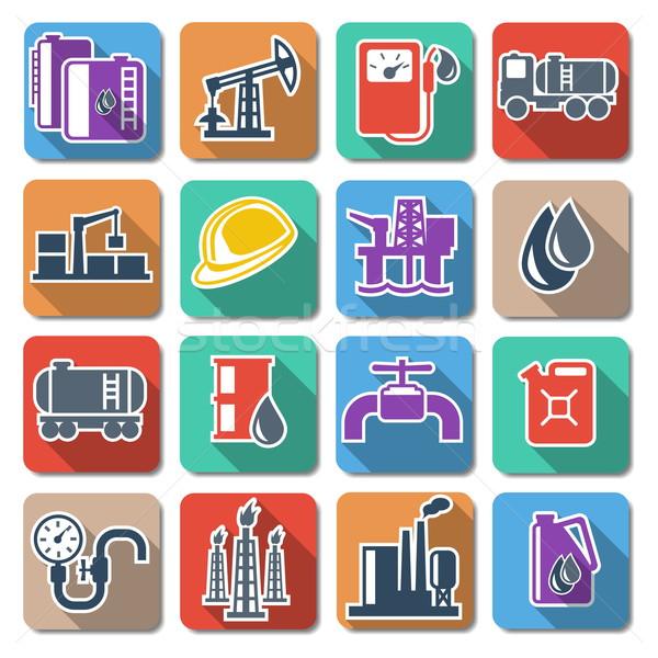 Stockfoto: Vector · olie-industrie · iconen · industriële · gas · helm