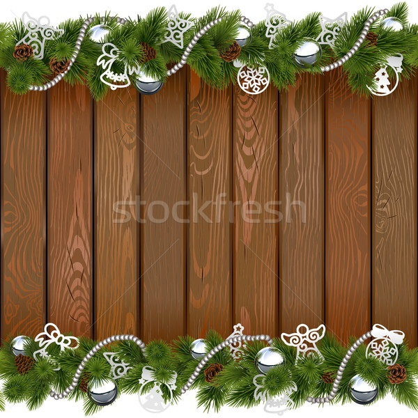 Vector Seamless Christmas Board with Silver Decorations Stock photo © dashadima