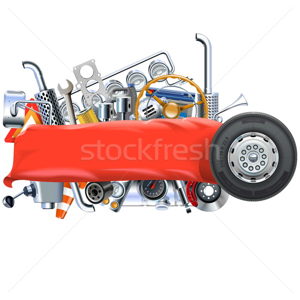Vector Banner with Truck Spares Stock photo © dashadima