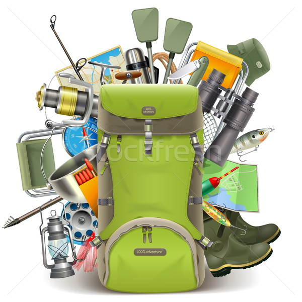 Vector Haversack with Fishing Tackle Stock photo © dashadima