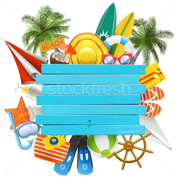 Vector Beach Accessories with Wooden Plank Stock photo © dashadima