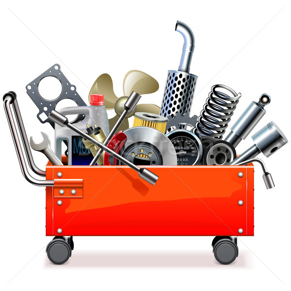 Vector Toolbox Trolley with Car Spares Stock photo © dashadima