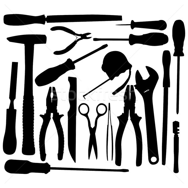 Vector Black Hand Tool Pictograms Stock photo © dashadima