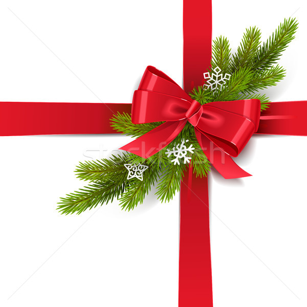 Vector Red Bow with Fir Branch Stock photo © dashadima