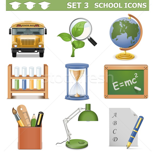 Vector School Icons Set 3 Stock photo © dashadima