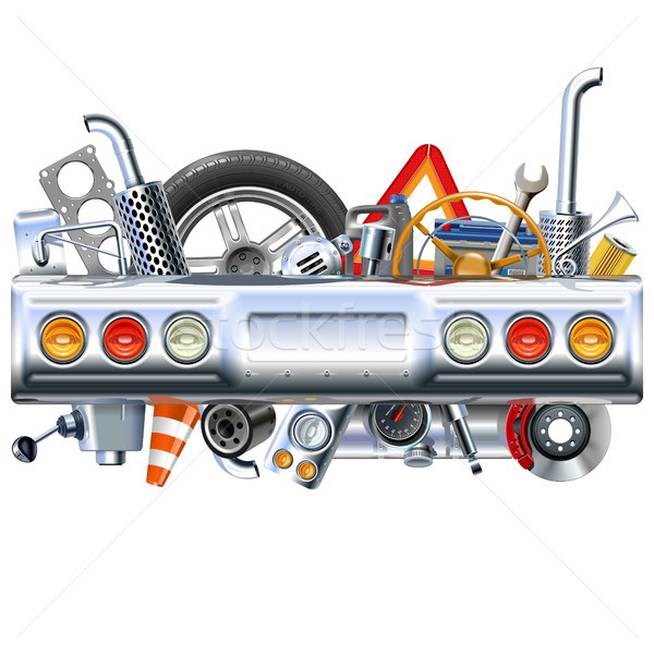 Vector Rear Car Part with Spares Stock photo © dashadima