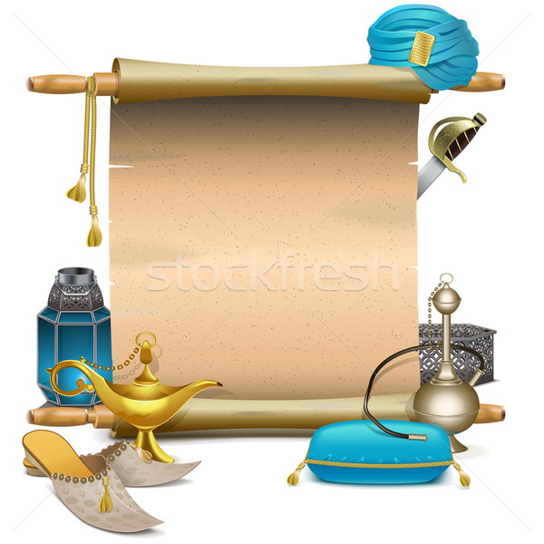 Vector Scroll with Eastern Accessories Stock photo © dashadima